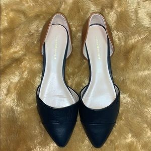 Tommy Hilfiger Navy Blue and Tan Flats